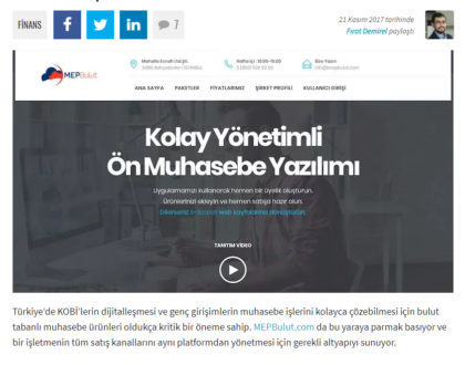 [ Webrazzi ] MEPBulut: E-ticaret altyapısı da sunan bulut tabanlı ön muhasebe platformu